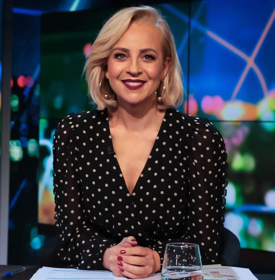 Carrie Bickmore wearing a black and white polka dot dress on The Project. Photo: Channel 10.