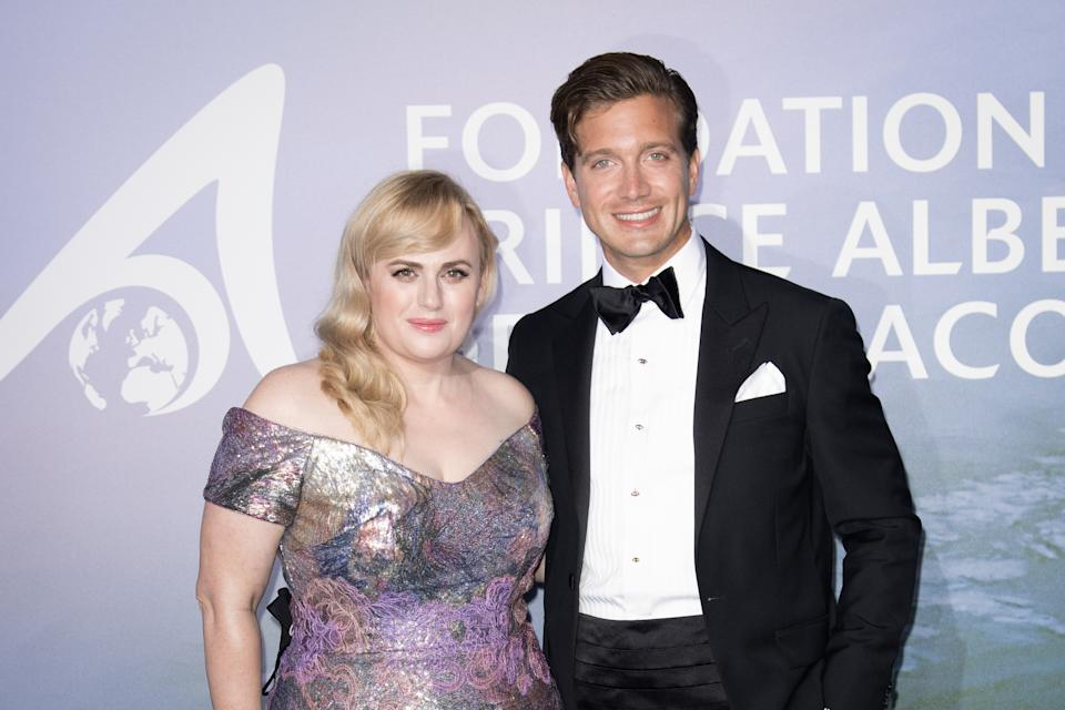 MONTE-CARLO, MONACO - SEPTEMBER 24: Rebel Wilson and Jacob Busch attend the Monte-Carlo Gala For Planetary Health on September 24, 2020 in Monte-Carlo, Monaco. (Photo by SC Pool - Corbis/Corbis via Getty Images)