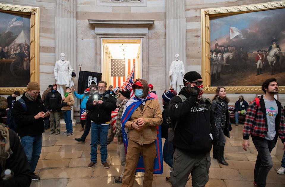 Trump supporters inside the US Capitol building during the January 6 riots.