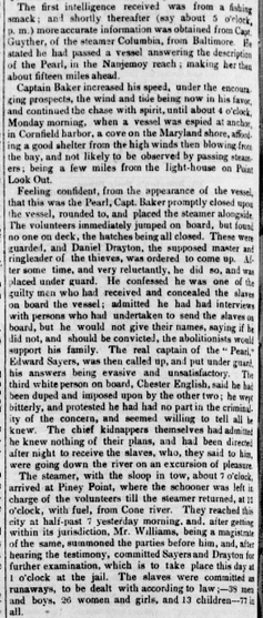 Four paragraphs from an 1848 newspaper article on the capture of pearls.