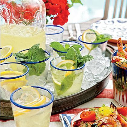 """<p><strong>Recipe: <a href=""""https://www.southernliving.com/syndication/lemon-mint-sparklers"""" rel=""""nofollow noopener"""" target=""""_blank"""" data-ylk=""""slk:Lemon-Mint Sparklers"""" class=""""link rapid-noclick-resp"""">Lemon-Mint Sparklers</a></strong></p> <p>The Lemon-Mint Syrup used to make this cocktail can be made ahead and kept in the refrigerator for up to a week. </p>"""