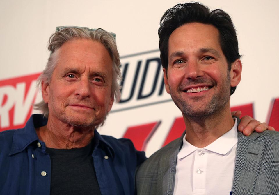 Michael Douglas with Ant-Man and the Wasp co-star Paul Rudd (Reuters)