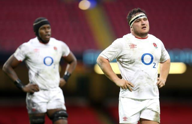 England's Jamie George (right) and Maro Itoje look dejected during the Wales defeat