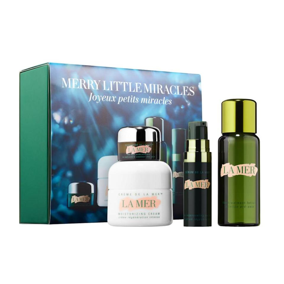 """<p>If you're going to splurge on skin care, then really go for it with this set from La Mer. This kit is curated with four skin care essentials to diminish dark circles, moisturize and add luminosity to your skin.<br><strong><a rel=""""nofollow noopener"""" href=""""https://fave.co/2Di1fps"""" target=""""_blank"""" data-ylk=""""slk:Shop it"""" class=""""link rapid-noclick-resp"""">Shop it</a>:</strong> $150, <a rel=""""nofollow noopener"""" href=""""https://fave.co/2Di1fps"""" target=""""_blank"""" data-ylk=""""slk:sephora.com"""" class=""""link rapid-noclick-resp"""">sephora.com</a> </p>"""
