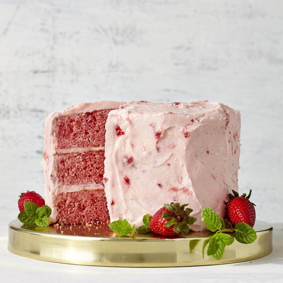 """<p>This vibrant pink layer cake is pure strawberry-on-strawberry goodness, with fresh strawberries going into the cake batter and frosting. One thing to note about the buttercream frosting—it is absolutely bursting with berry flavor, but is easily over-mixed. If you find you've broken your emulsion when whipping this frosting up, no worries. You can simply mix in a little more powdered sugar to restore it. That said, we love how purely strawberry-forward the flavor of this frosting is, so we'd advise being very light-handed when adding extra powdered sugar, as it will dilute the berry flavor. In our opinion, it's better to have a slightly broken frosting that tastes like strawberries than a perfectly pristine frosting that tastes like sugar. </p> <p><a href=""""https://www.myrecipes.com/recipe/strawberry-cake-with-strawberry-buttercream-frosting"""">Strawberry Cake with Strawberry Buttercream Frosting Recipe</a></p>"""