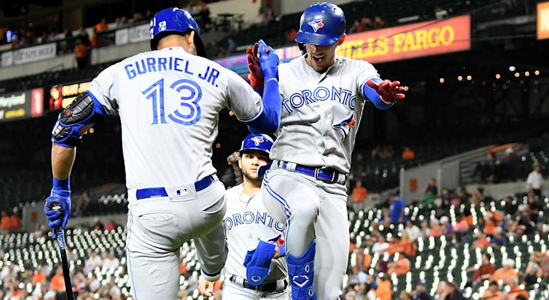 Cavan Biggio of the Toronto Blue Jays celebrates with Lourdes Gurriel Jr. (#13) after hitting a two-run home run in the third inning against the Baltimore Orioles at Oriole Park at Camden Yards on Tuesday night. (Photo by Greg Fiume/Getty Images)