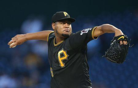 Sep 21, 2018; Pittsburgh, PA, USA; Pittsburgh Pirates starting pitcher Ivan Nova (46) delivers a pitch against the Milwaukee Brewers during the first inning at PNC Park. Mandatory Credit: Charles LeClaire-USA TODAY Sports
