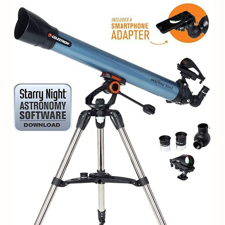 """<p><strong>Celestron</strong></p><p>amazon.com</p><p><strong>$697.99</strong></p><p><a href=""""https://www.amazon.com/dp/B01L0EQOZO?tag=syn-yahoo-20&ascsubtag=%5Bartid%7C10055.g.33608427%5Bsrc%7Cyahoo-us"""" rel=""""nofollow noopener"""" target=""""_blank"""" data-ylk=""""slk:Shop Now"""" class=""""link rapid-noclick-resp"""">Shop Now</a></p><p>Not every telescope is compatible with cameras and snapping a picture through the lens can lead to blurry images. <strong>This telescope has a smartphone adapter built in for easy astrophotography</strong>, capturing clear images. With an 80mm aperture on a refractor telescope, reviewers enjoyed the crisp views of the sky as wall as of birds and nature too.</p>"""