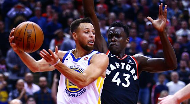 Steph Curry and Pascal Siakam battle during the Warriors last game in Toronto, a tight 127-125 Golden State win in January. (Photo by Vaughn Ridley/Getty Images)