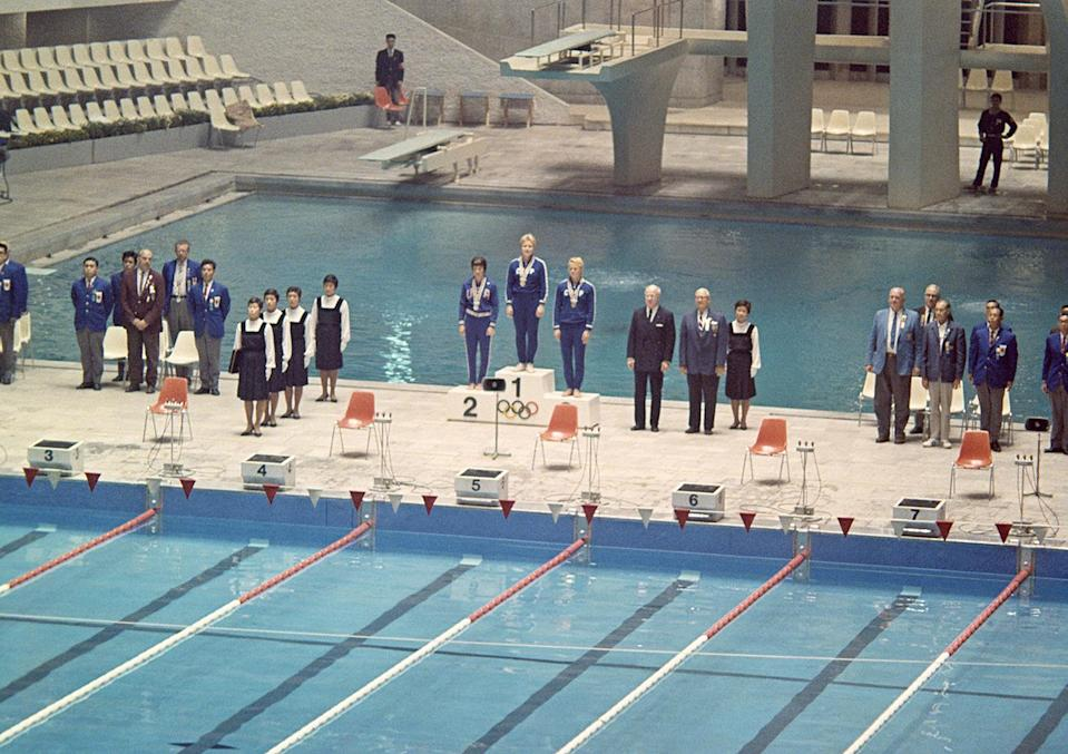 <p>The victory ceremony starts for the Women's 200 Meters Breast Stroke competition.</p>
