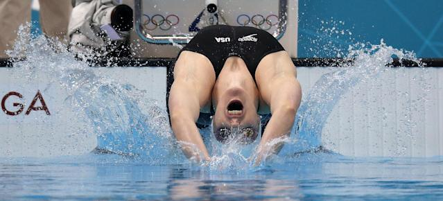 LONDON, ENGLAND - JULY 29: Missy Franklin of the United States competes in the Women's 100m Backstroke heat 6 on Day 2 of the London 2012 Olympic Games at the Aquatics Centre on July 29, 2012 in London, England. (Photo by Clive Rose/Getty Images)