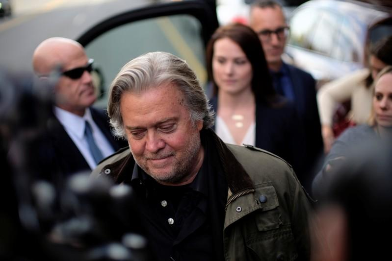Former White House chief strategist Steve Bannon departs after testifying in the criminal trial of Roger Stone, former campaign advisor to U.S. President Donald Trump, on charges of lying to Congress, obstructing justice and witness tampering at U.S. Distr