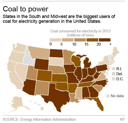 Map shows coal usage to generate electricity; 2c x 3 inches; 96.3 mm x 76 mm;