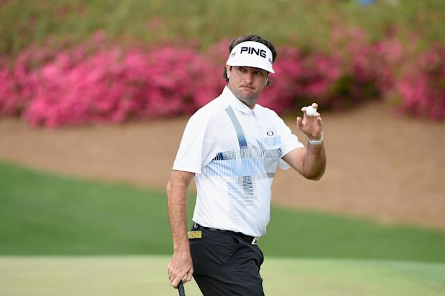AUGUSTA, GA - APRIL 13: Bubba Watson of the United States waves to the gallery on the tenth green during the final round of the 2014 Masters Tournament at Augusta National Golf Club on April 13, 2014 in Augusta, Georgia. (Photo by Harry How/Getty Images)