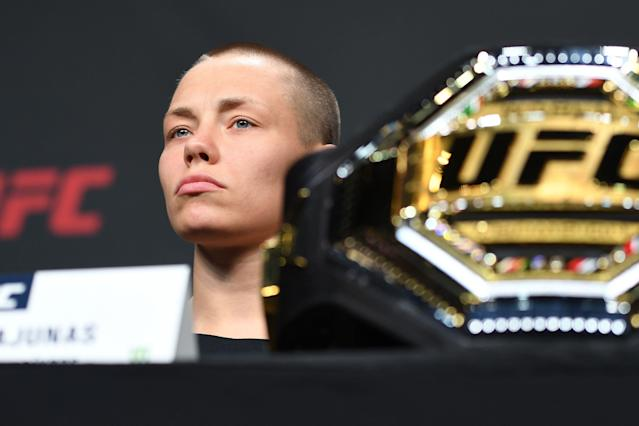 UFC women's strawweight champion Rose Namajunas speaks to the media during the UFC Seasonal Press Conference inside State Farm Arena on April 12, 2019 in Atlanta. (Getty Images)