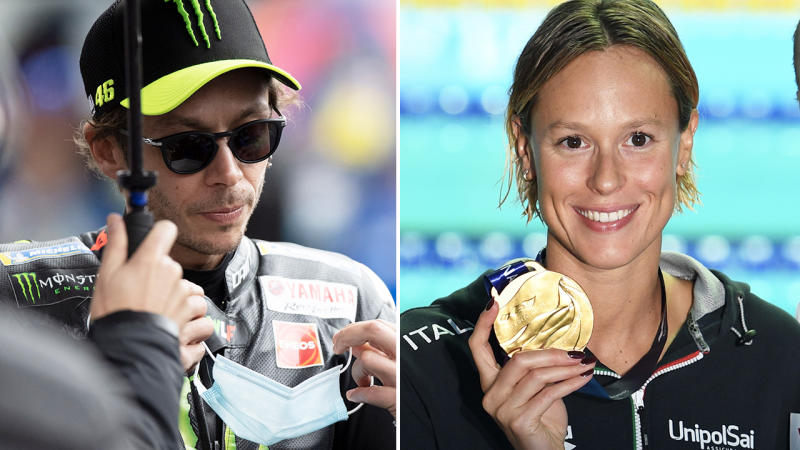 Valentino Rossi and Federica Pellegrini, pictured here in their respective sports.