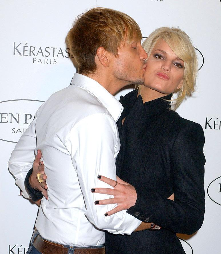 "Jessica Simpson shares a smooch with her stylist and best friend, Ken Paves, at the opening of his Beverly Hills salon. Gregg DeGuire/<a href=""http://www.wireimage.com"" target=""new"">WireImage.com</a> - September 30, 2006"