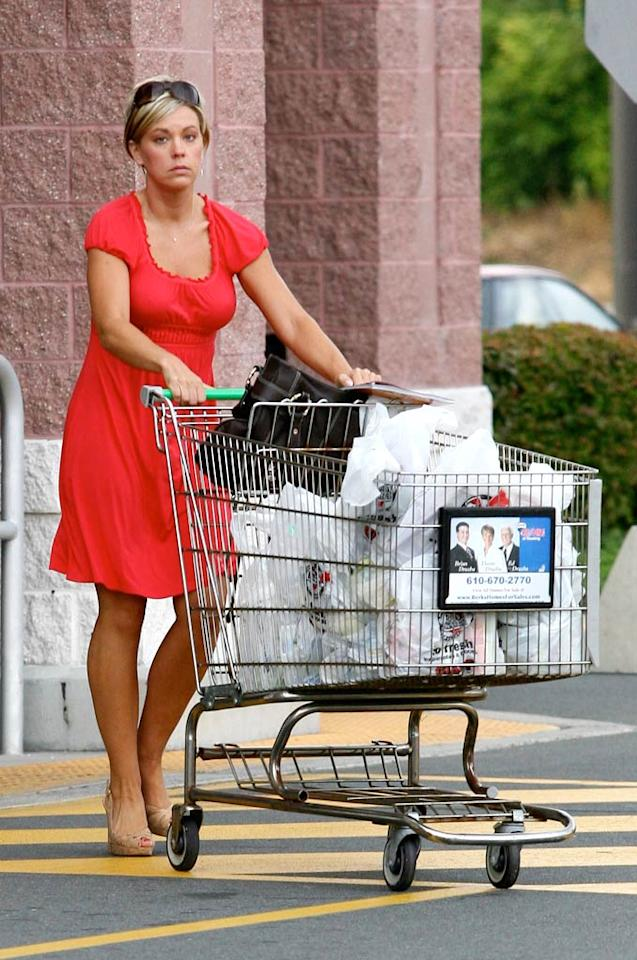 "Reality TV ""star"" Kate Gosselin loads up on groceries for her broken family's Labor Day BBQ. <a href=""http://www.infdaily.com"" target=""new"">INFDaily.com</a> - September 7, 2009"