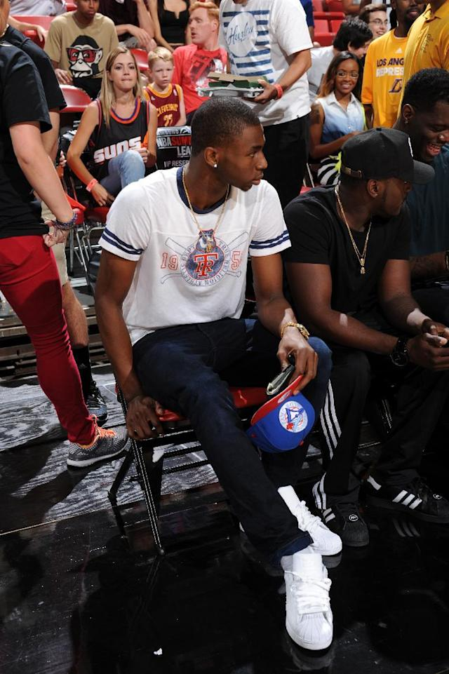 LAS VEGAS, NV - JULY 20: Andrew Wiggins #21 of the Cleveland Cavaliers attends the game between the Sacramento Kings and the Washington Wizards at the Samsung NBA Summer League 2014 on July 20, 2014 at the Thomas and Mack Center in Las Vegas, Nevada. (Photo by Garrett Ellwood/NBAE via Getty Images)