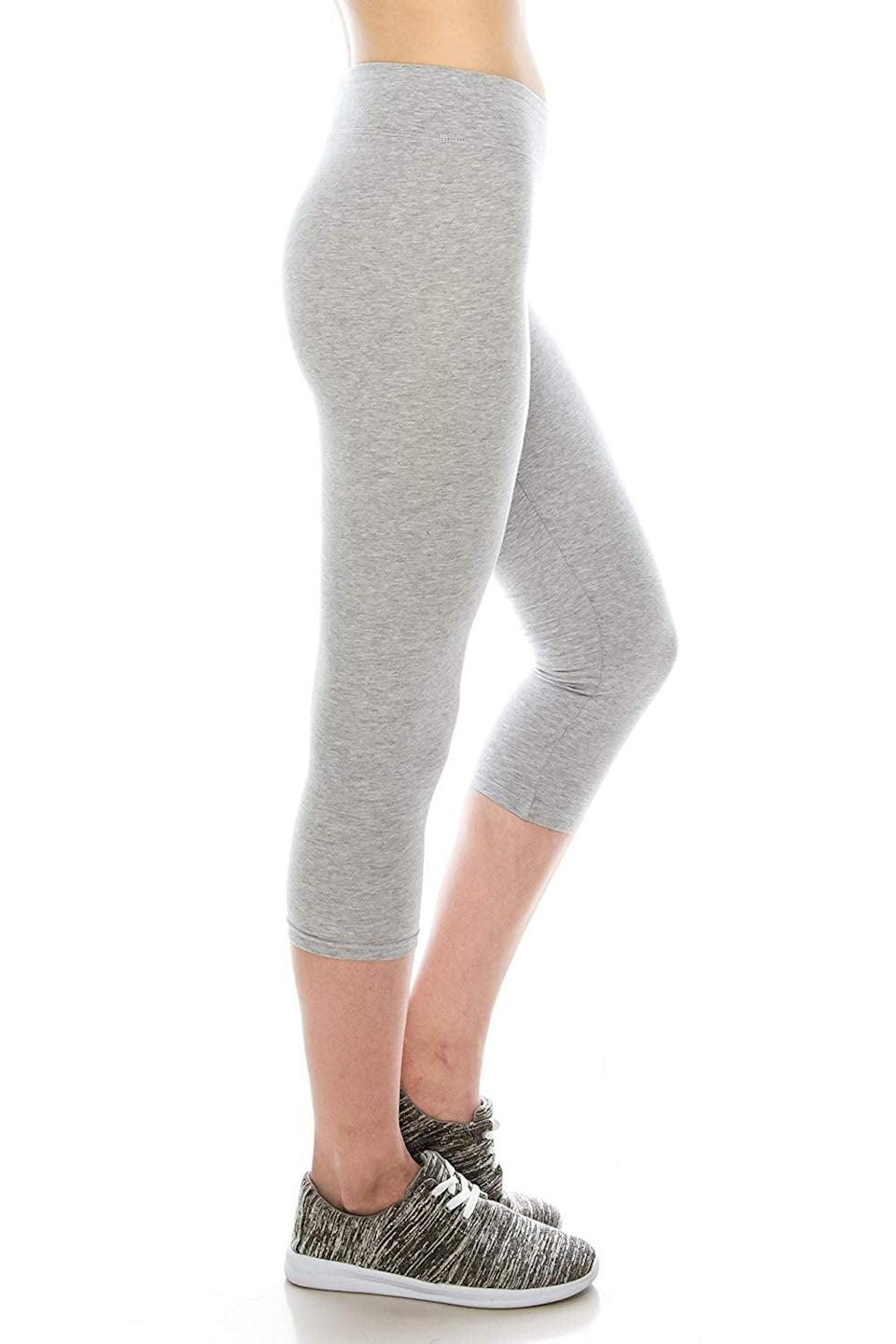 """<p>If you prefer a cropped legging, try these <a href=""""https://www.popsugar.com/buy/Cotton-Spandex-Basic-Leggings-365700?p_name=Cotton%20Spandex%20Basic%20Leggings&retailer=amazon.com&pid=365700&price=15&evar1=fit%3Aus&evar9=45278643&evar98=https%3A%2F%2Fwww.popsugar.com%2Ffitness%2Fphoto-gallery%2F45278643%2Fimage%2F45278648%2FCotton-Spandex-Basic-Leggings&list1=shopping%2Camazon%2Cworkout%20clothes%2Cleggings%2Cfitness%20gear&prop13=mobile&pdata=1"""" class=""""link rapid-noclick-resp"""" rel=""""nofollow noopener"""" target=""""_blank"""" data-ylk=""""slk:Cotton Spandex Basic Leggings"""">Cotton Spandex Basic Leggings</a> ($15). Customers """"love, love, love"""" these, and say that """"they definitely held up during crazy and sometimes brutal training/workout sessions.""""</p>"""
