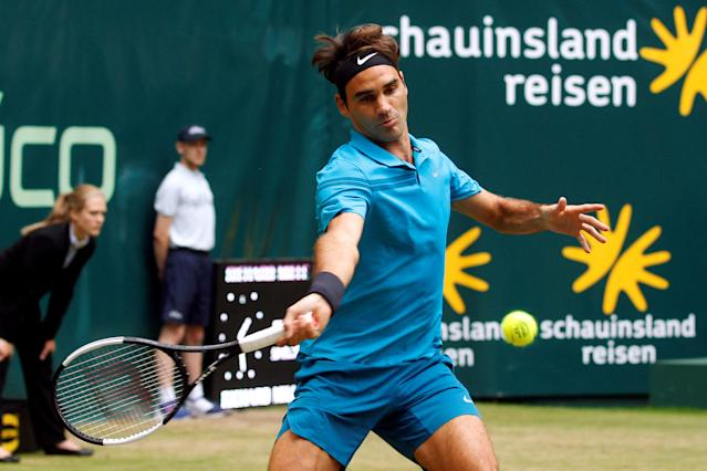 Tennis - ATP - Halle Open Finals - Gerry Weber Stadion, Halle, Germany - June 24, 2018 Switzerland's Roger Federer in action during the final against Croatia's Borna Coric REUTERS/Leon Kuegeler