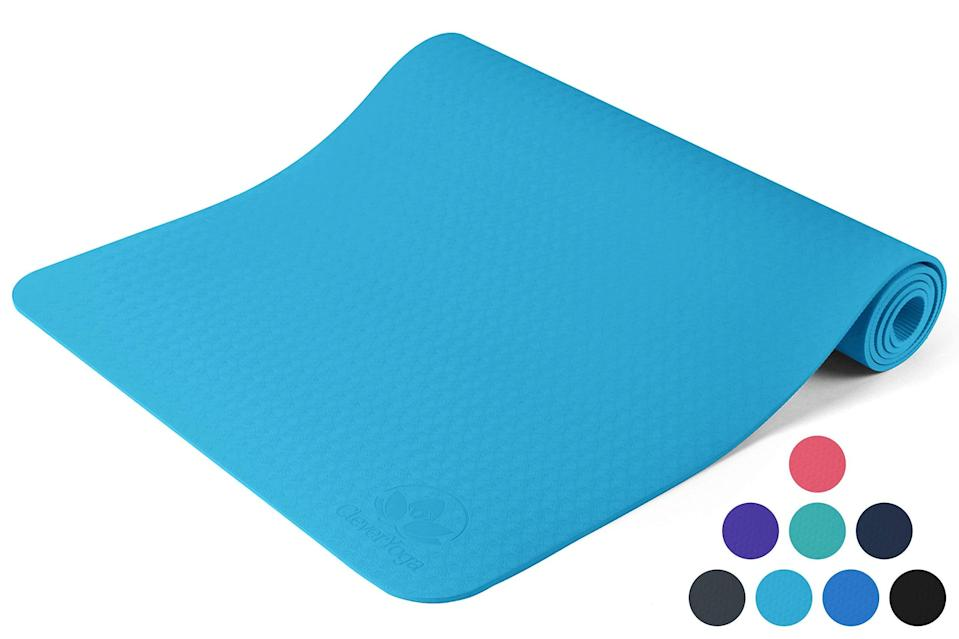 """<h3>Clever Non-Slip Yoga Mat</h3> <br>""""If you are able to purchase props, my favorite yoga mat is a Clever yoga mat,"""" says <a href=""""https://www.instagram.com/yogabrielle.elle/"""" rel=""""nofollow noopener"""" target=""""_blank"""" data-ylk=""""slk:Gabrielle Mariah Roberts"""" class=""""link rapid-noclick-resp"""">Gabrielle Mariah Roberts</a>, a Minneapolis-based yoga instructor and founder of <a href=""""https://www.instagram.com/612jungle/"""" rel=""""nofollow noopener"""" target=""""_blank"""" data-ylk=""""slk:612 Jungle"""" class=""""link rapid-noclick-resp"""">612 Jungle</a> tells us. """"It's a little pricey, but very slip resistant!"""" <br><br><strong>Clever Yoga</strong> Yoga Mat Non Slip, $, available at <a href=""""https://amzn.to/3d2zfED"""" rel=""""nofollow noopener"""" target=""""_blank"""" data-ylk=""""slk:Amazon"""" class=""""link rapid-noclick-resp"""">Amazon</a><br>"""