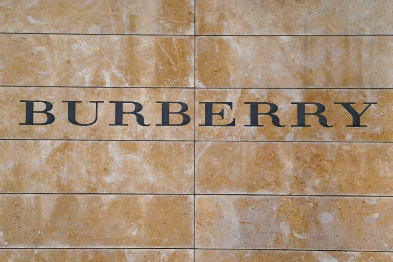 FILE PHOTO: A Burberry logo is seen outside the store on 5th Ave in New York