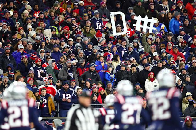 Fans at Gillette Stadium booed the New England Patriots at halftime. (Adam Glanzman/Getty Images)
