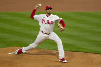 Philadelphia Phillies Zach Elfin throws during the first inning of the team's baseball game against the St. Louis Cardinals, Friday, April 16, 2021, in Philadelphia. (AP Photo/Laurence Kesterson)