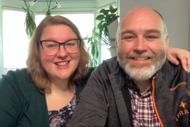 Ashley Green, left, works in marketing and design and is the voice of P.E.I. Vax Bot. Her husband, Jonathan Green, writes software for a living and created the bot.