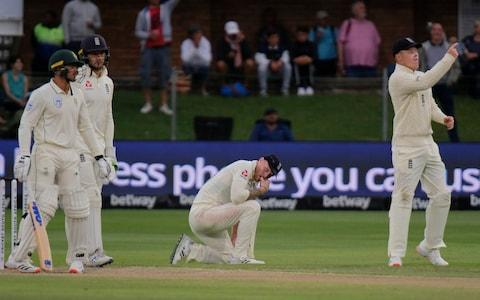 Ben Stokes, center, shows his disappointment after a catch is dropped during day two of the third cricket test between South Africa and England in Port Elizabeth, South Africa, Saturday, Jan. 18, 2020 - Credit: AP