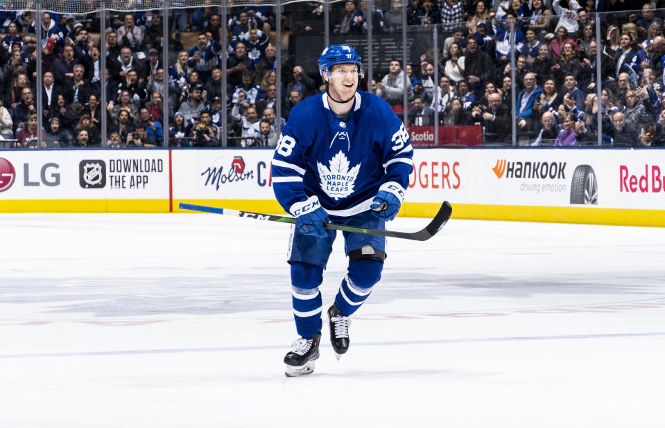 TORONTO, ON - JANUARY 14: Rasmus Sandin #38 of the Toronto Maple Leafs skates against the New Jersey Devils during the first period at the Scotiabank Arena on January 14, 2020 in Toronto, Ontario, Canada. (Photo by Mark Blinch/NHLI via Getty Images)