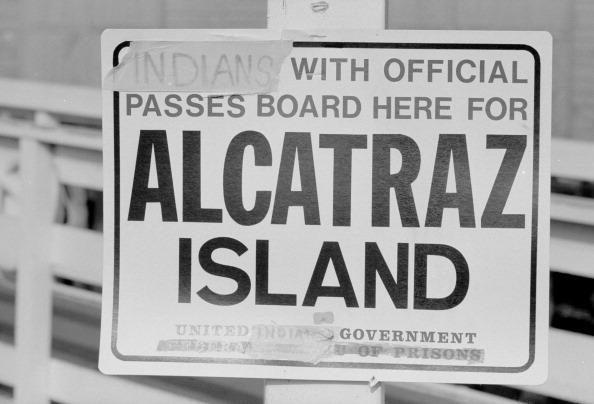 View of a sign on Alcratraz Island, altered by a group of Native Americans who had taken over the island, San Francisco, California, December 1969. For almost 19 months months, a group of Native Americans, under the name 'Indians of all Nations,' occupied the island, which at the time was out of service as a Federal Prison, based on their interpretation of the 1868 Fort Laramie Treaty, which they believed granted them the right to reclaim any land originally theirs sold to and subsequently abandoned by the US government. (Photo by Ralph Crane/Time & Life Pictures/Getty Images)