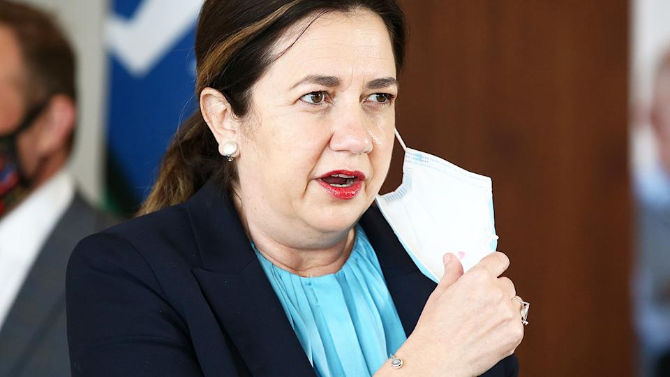 Annastacia Palaszczuk, pictured here talking to the media in Brisbane.