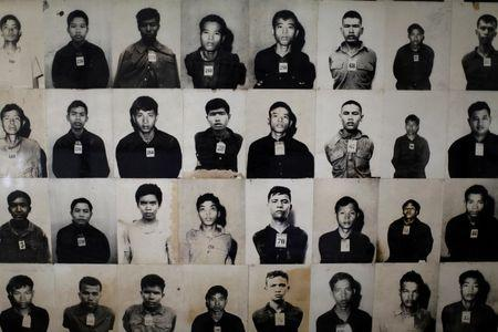 Photos of victims are displayed at the Tuol Sleng Genocide Museum in Phnom Penh