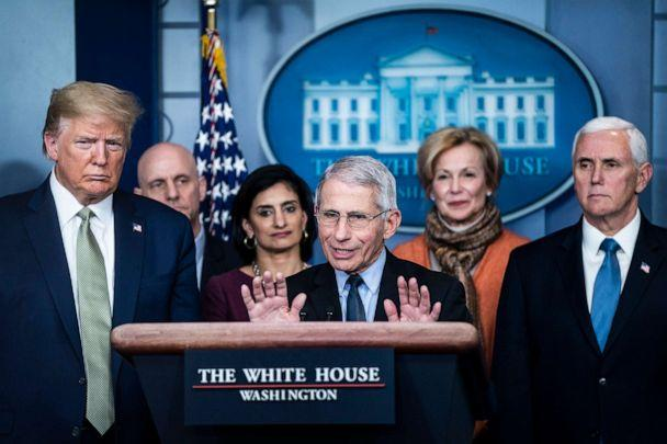 PHOTO: National Institute for Allergy and Infectious Diseases Director Dr. Anthony Fauci speaks with the coronavirus task force in response to the COVID-19 coronavirus pandemic during a briefing at the White House, March 17, 2020. (The Washington Post via Getty Images, FILE)