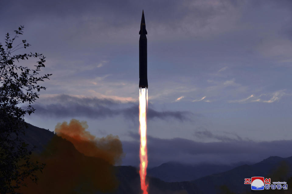 """FILE - This Sept. 28, 2021, file photo provided by the North Korean government shows what North Korea claims to be a new hypersonic missile launched from Toyang-ri, Ryongrim County, Jagang Province, North Korea. North Korea on Sunday, Oct. 3, 2021 warned the United Nation's top body against making any statements criticizing the isolated country's missile program, in a statement that included unspecified threats against the international body. Independent journalists were not given access to cover the event depicted in this image distributed by the North Korean government. The content of this image is as provided and cannot be independently verified. Korean language watermark on image as provided by source reads: """"KCNA"""" which is the abbreviation for Korean Central News Agency. (Korean Central News Agency/Korea News Service via AP, File)"""