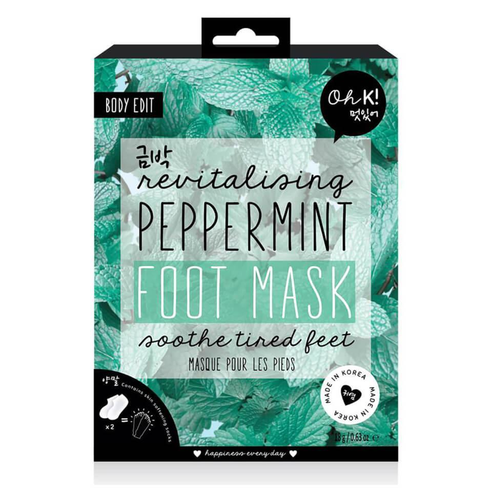 """<h3>Oh K! Peppermint Revitalising Foot Mask<br></h3> <br>This cooling foot mask is another solid option if you don't want to watch all your foot skin peel off over a number of days. Enriched with refreshing ingredients like rosemary, thyme, and peppermint, this mask is like a spa day for tired tootsies.<br><br><strong>Oh K!</strong> Peppermint Revitalising Foot Mask, $, available at <a href=""""https://go.skimresources.com/?id=30283X879131&url=https%3A%2F%2Fus.lookfantastic.com%2Foh-k-peppermint-revitalising-foot-mask-16ml%2F12132622.html"""" rel=""""nofollow noopener"""" target=""""_blank"""" data-ylk=""""slk:LookFantastic"""" class=""""link rapid-noclick-resp"""">LookFantastic</a><br>"""
