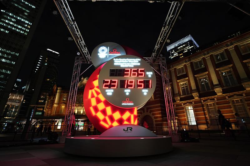 TOKYO, JAPAN - JULY 24: The OMEGA Tokyo 2020 Countdown Clock is seen marking one year to go to the start of the Tokyo 2020 Olympic Games at Marunouchi Central Plaza, Tokyo Station on July 24, 2019 in Tokyo, Japan. (Photo by Christopher Jue/Getty Images for OMEGA)