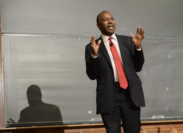 Yale alumnus Dr. Benjamin Carson, President-elect Donald Trump's pick for secretary of the U.S. Department of Housing and Urban Development, spoke at YaleThursday, Dec. 8 as a guest of the William F. Buckley Jr. Program at Yale. (AP Photo/Stephen Dunn)