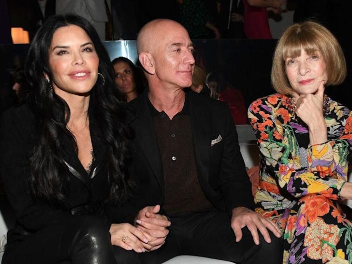 Lauren Sanchez, Amazon CEO Jeff Bezos, and Anna Wintour attends the Tom Ford AW20 Show at Milk Studios on February 07, 2020 in Hollywood, California.