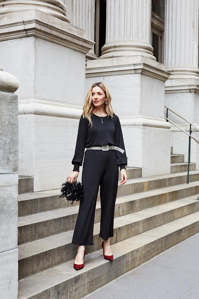 <p>Give a simple black jumpsuit a dressed-up feel with sparkly accessories and playful pumps. Red leopard print is an unexpected yet spirited choice. </p>