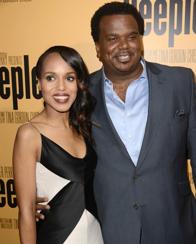"""HOLLYWOOD, CA - MAY 08:  Actors Kerry Washington (L) and Craig Robinson arrive at the premiere of """"Peeples"""" presented by Lionsgate Film and Tyler Perry at ArcLight Hollywood on May 8, 2013 in Hollywood, California.  (Photo by Kevin Winter/Getty Images)"""