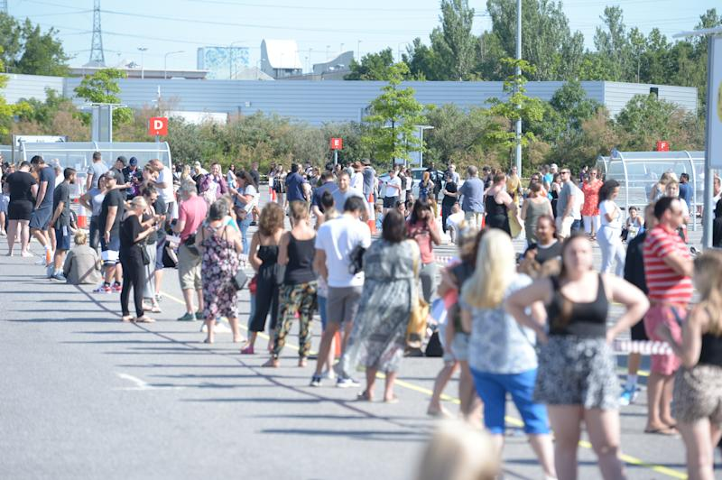 People queuing at the Ikea store in Lakeside, Thurrock, Essex, which has reopened as part of a wider easing of lockdown restrictions in England.