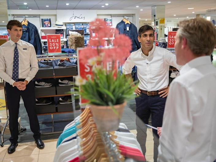 Chancellor Rishi Sunak visits shops and meets shoppers on the High Street in Northallerton in Yorkshire: HM Treasury