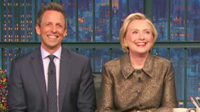 """During an appearance on """"Late Night With Seth Meyers,"""" Hillary Clinton took a moment to mock Fox News and its obsessive coverage of her."""