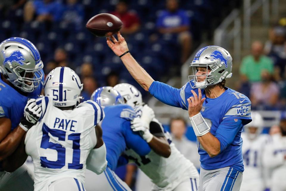 Detroit Lions quarterback Tim Boyle (12) makes a pass against Indianapolis Colts during the first half of a preseason game at Ford Field in Detroit, Friday, August 27, 2021.
