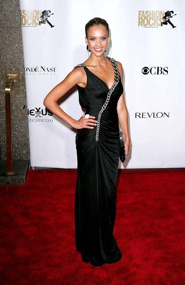 "The chain trim gives Jessica Alba's gown a rock and roll edge. James Devaney/<a href=""http://www.wireimage.com"" target=""new"">WireImage.com</a> - September 6, 2007"