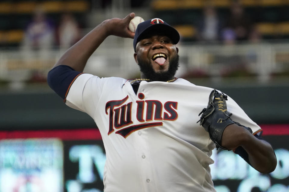 Minnesota Twins pitcher Michael Pineda throws against the Toronto Blue Jays in the first inning of a baseball game, Thursday, Sept. 23, 2021, in Minneapolis. (AP Photo/Jim Mone)