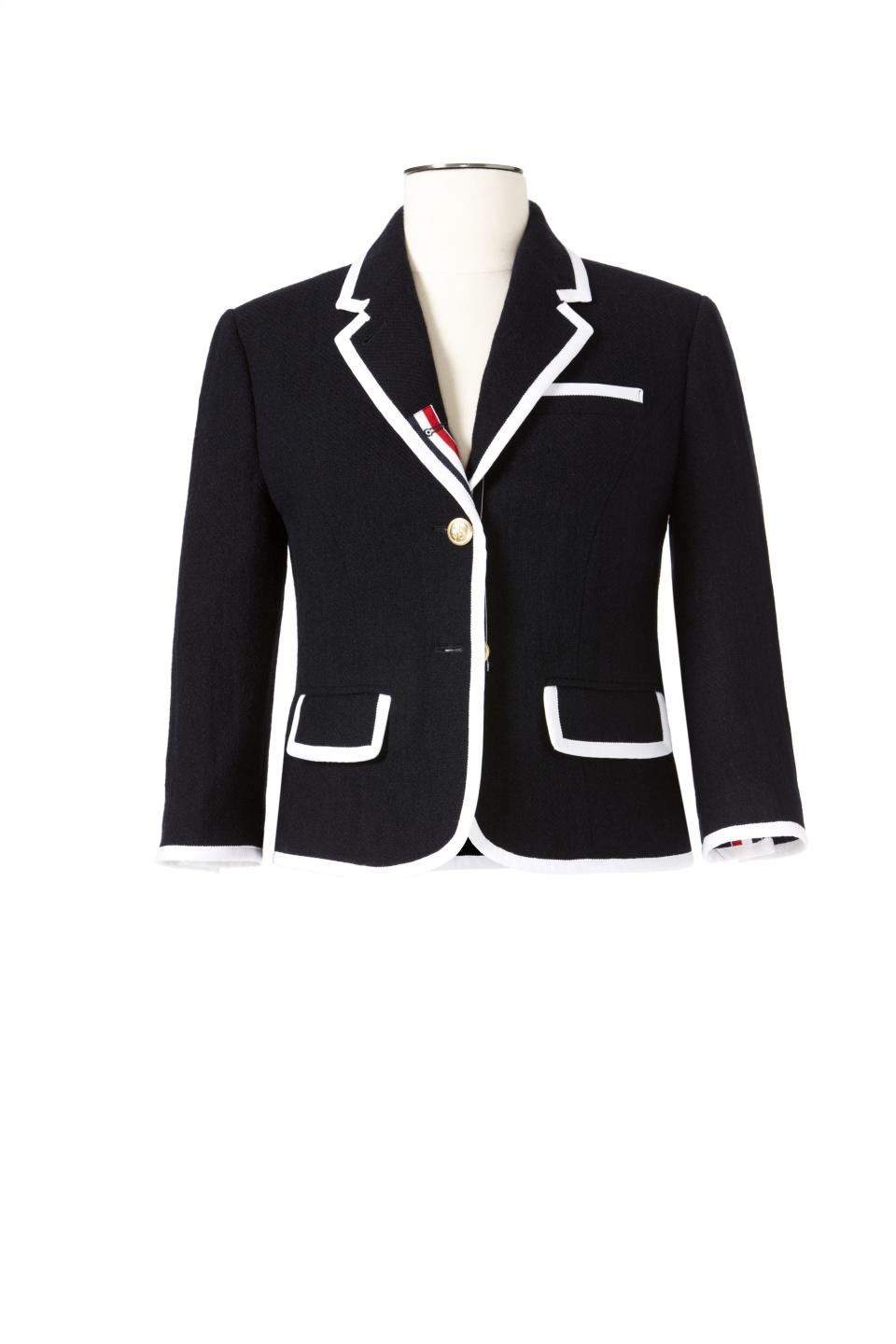 <b>Thom Browne for Target + Neiman Marcus Holiday Collection Women's and Men's Blazer</b><br><br> Women's Blazer Price: $129.99, Size: XS – XXL <br><br> Men's Blazer Price: $149.99, Size: S – XL <br><br> Women's Blazer pictured.<br><br>
